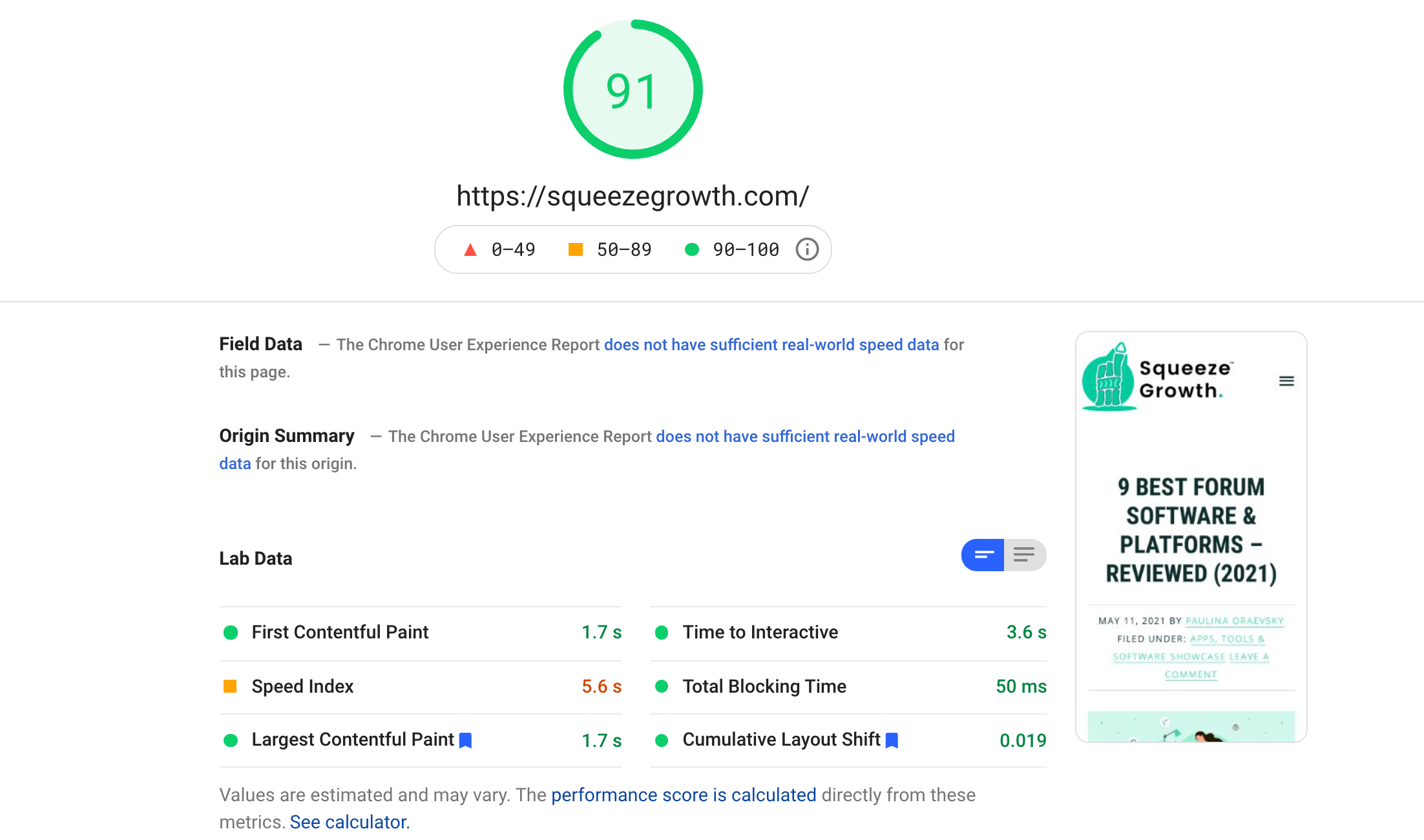 pagespeed squeezegrowth conversion optimization example