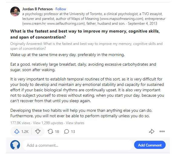 Jordan Petersons Quora answer on improving memory and concentration