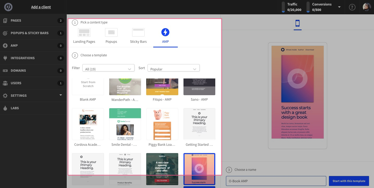 amp templates unbounce demo and tutorials