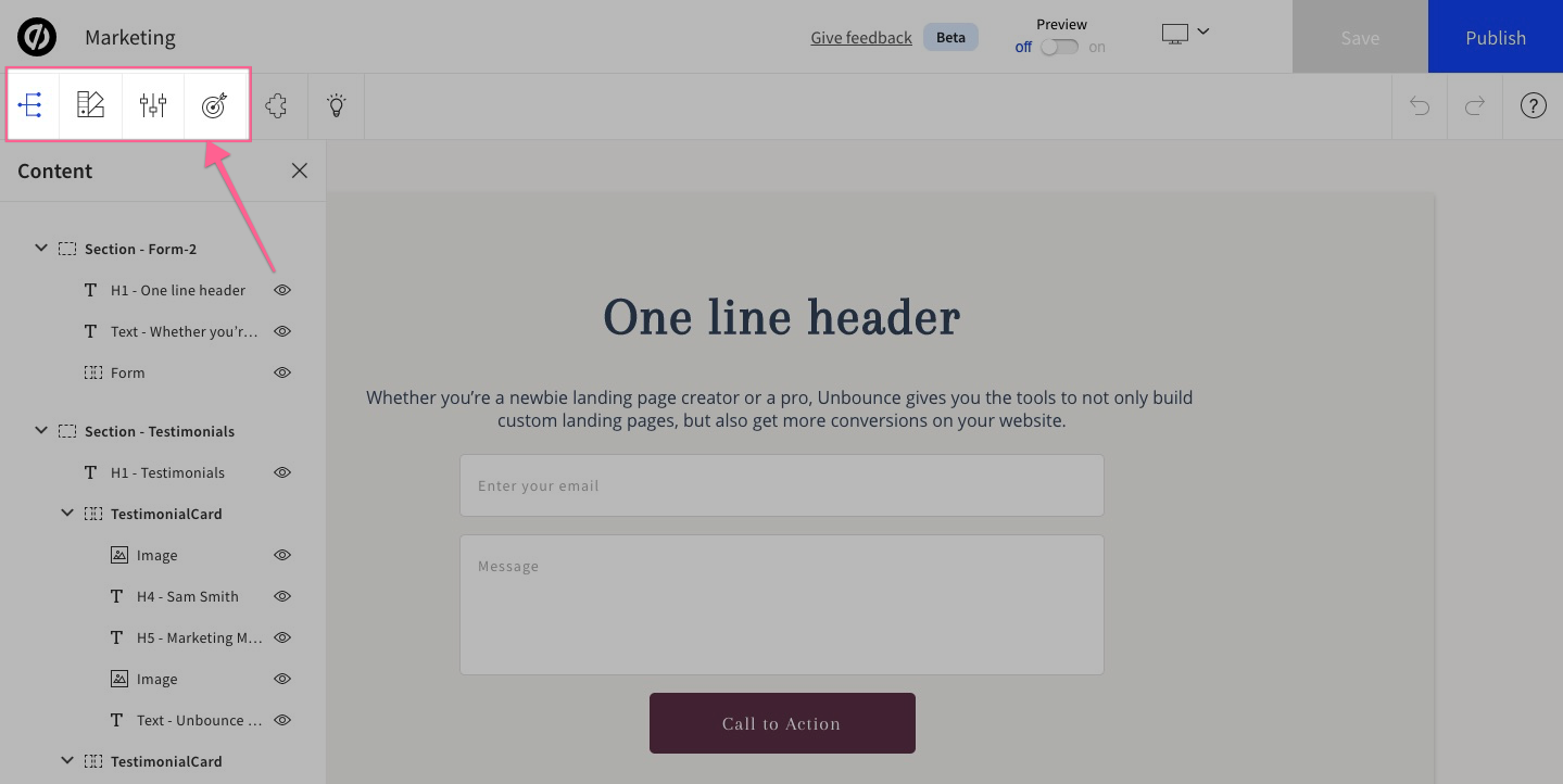 edit page unbounce demo and tutorials