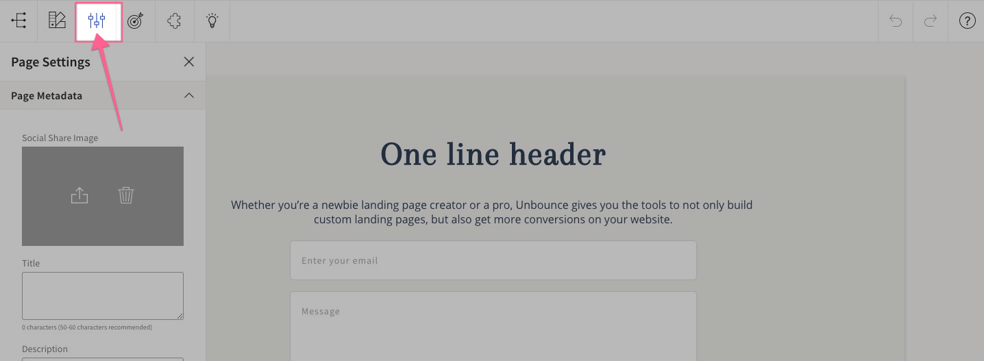page settings unbounce demo and tutorials