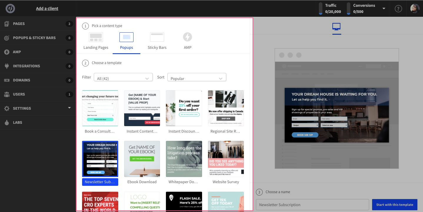 select popup template unbounce demo and tutorials